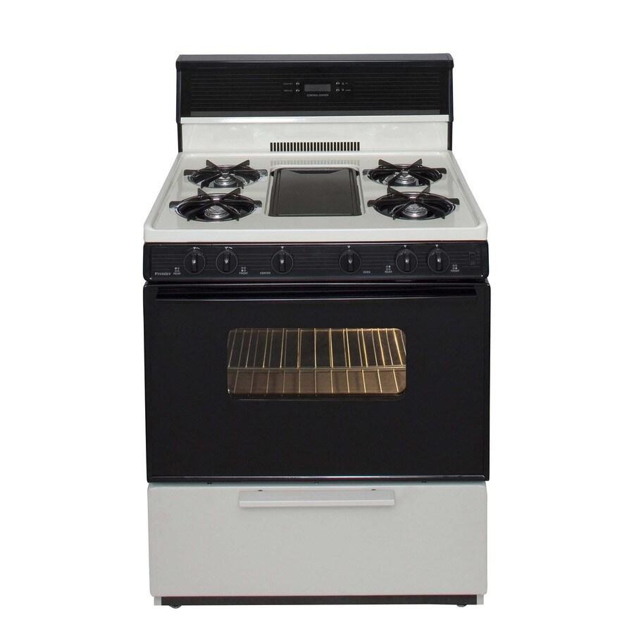 Premier 5-Burner Freestanding 3.9-cu ft Gas Range (Biscuit with Black Trim) (Common: 30-in; Actual: 30-in)