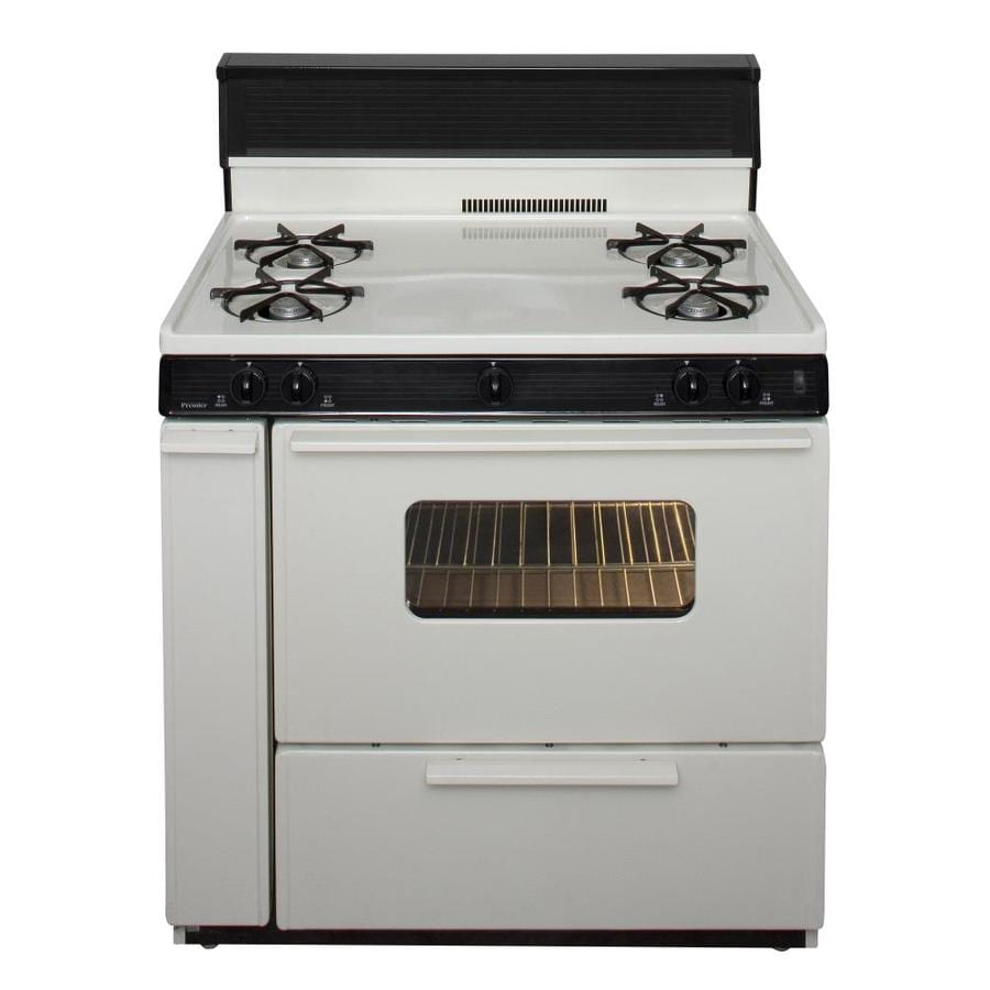 Premier Freestanding 3.9-cu ft Gas Range (Biscuit With Black Trim) (Common: 36 Inch; Actual: 36-in)