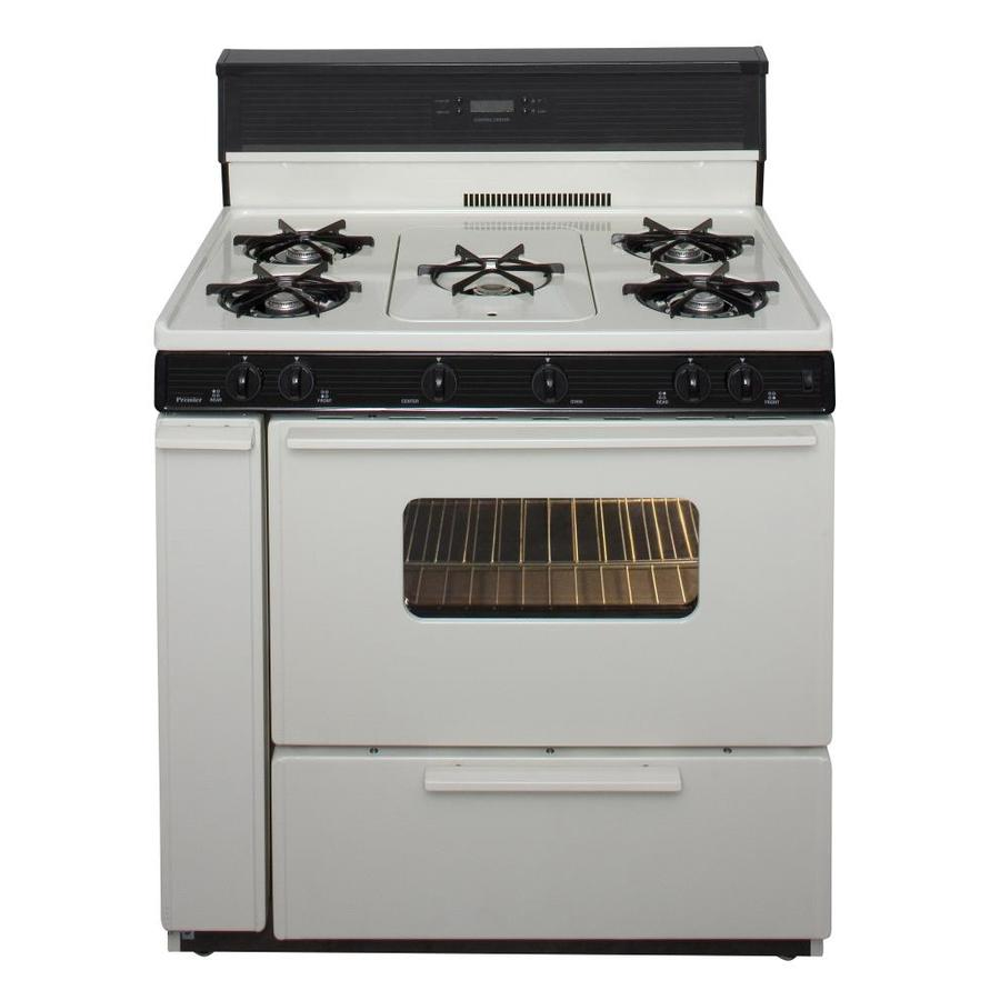 Premier 5-Burner Freestanding 3.9-cu ft Gas Range (Biscuit With Black Trim) (Common: 36 Inch; Actual: 36-in)
