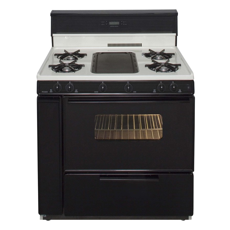 Premier 5-Burner Freestanding 3.9-cu ft Gas Range (Biscuit with Black Trim) (Common: 36-in; Actual: 36-in)
