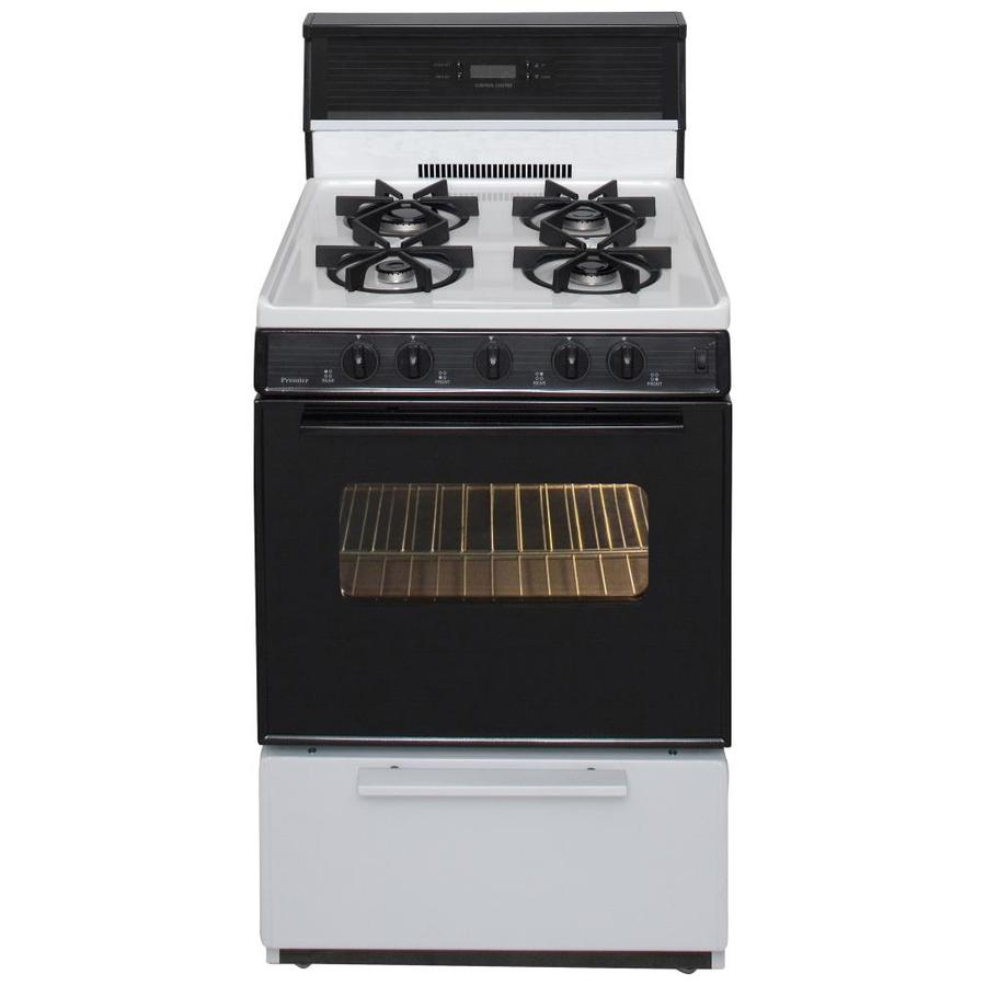 Premier 4-Burner Freestanding 2.9-cu ft Gas Range (White with Black Trim) (Common: 24-in; Actual: 24-in)