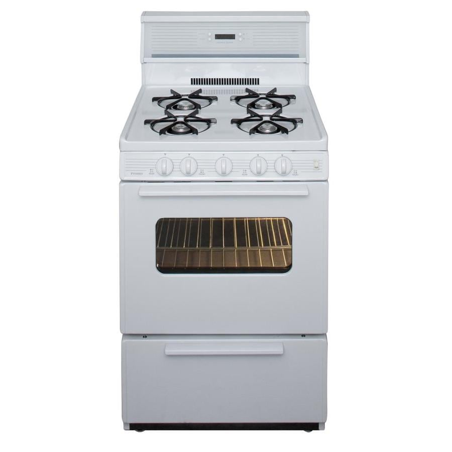 Premier Freestanding 2.9-cu ft Gas Range (White On White) (Common: 24-in; Actual: 24-in)