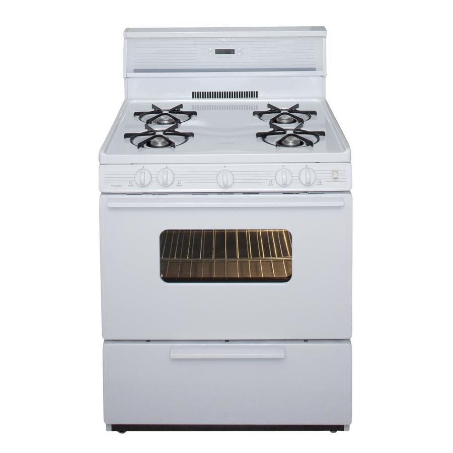 Premier 4-Burner Freestanding 3.9-cu ft Gas Range (White) (Common: 30-in; Actual: 30-in)