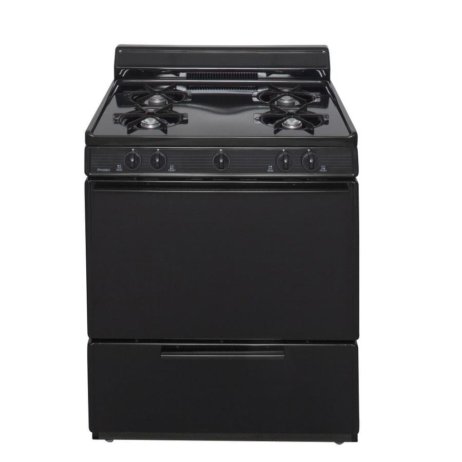 Premier Freestanding 3.9-cu ft Gas Range (Black) (Common: 30-in; Actual: 30-in)
