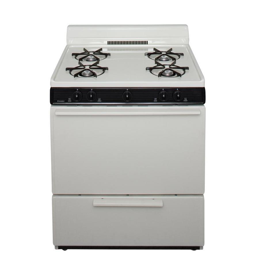 Premier 4-Burner Freestanding 3.9-cu ft Gas Range (Biscuit) (Common: 30-in; Actual: 30-in)