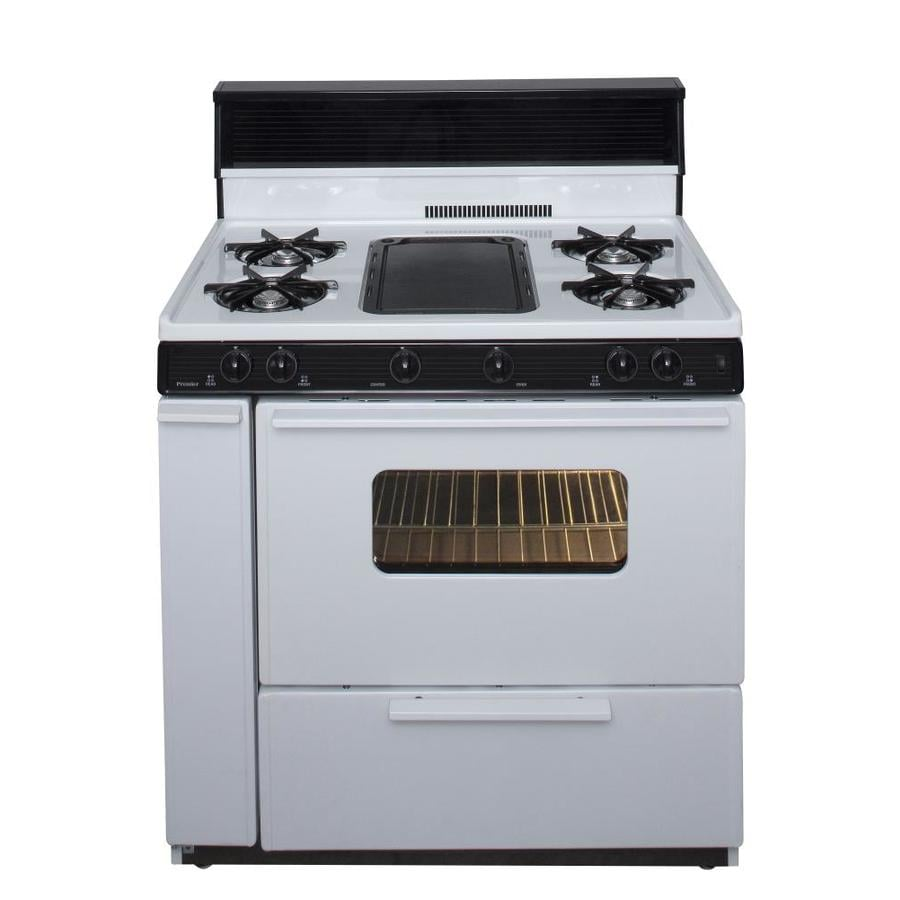 Premier 5-Burner Freestanding 3.9-cu ft Gas Range (White With Black Trim) (Common: 36 Inch; Actual: 36-in)