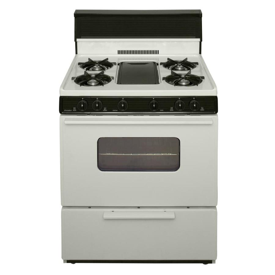 Premier 5-Burner Freestanding 3.9-cu ft  Gas Range (Biscuit with Black Trim) (Common: 30-in; Actual: 30-in)