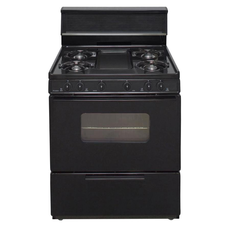 Premier 5-Burner Freestanding 3.9-cu ft Gas Range (Black) (Common: 30-in; Actual: 30-in)
