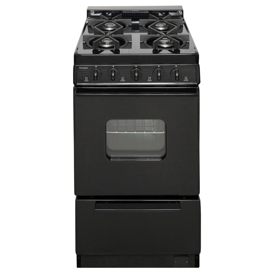 Premier 4-Burner Freestanding 2.4-cu ft Gas Range (Black) (Common: 20-in; Actual: 20.125-in)