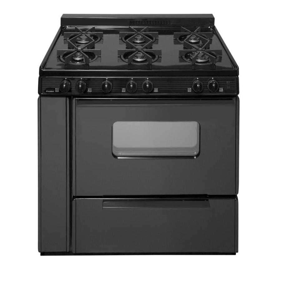 Premier 6-Burner Freestanding 3.9-cu ft Gas Range (Black) (Common: 36-in; Actual: 36-in)