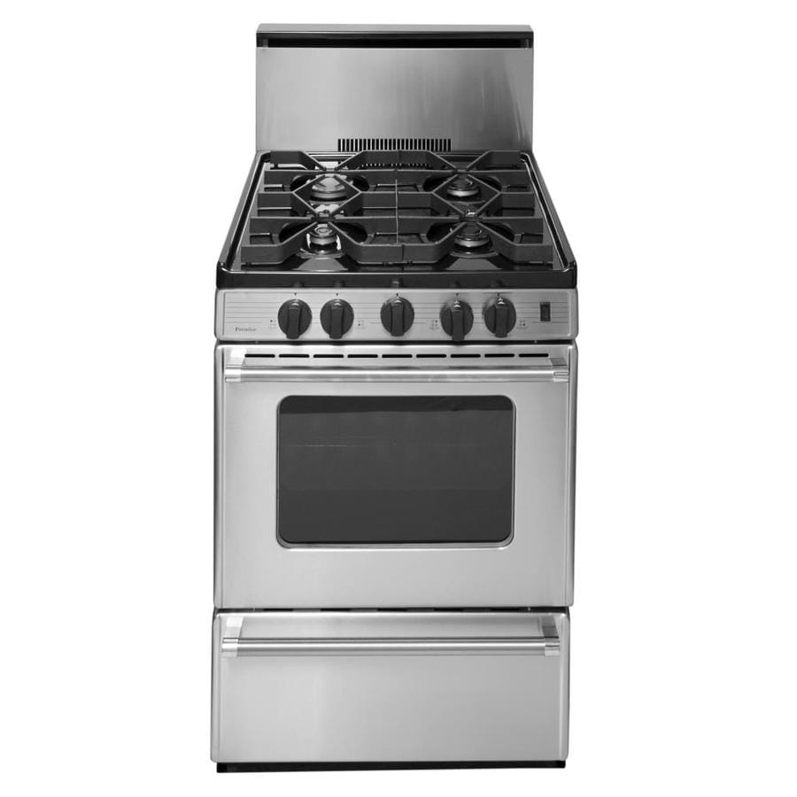 Premier 4-Burner Freestanding 2.9-cu ft Gas Range (Stainless) (Common: 24-in; Actual: 24-in)