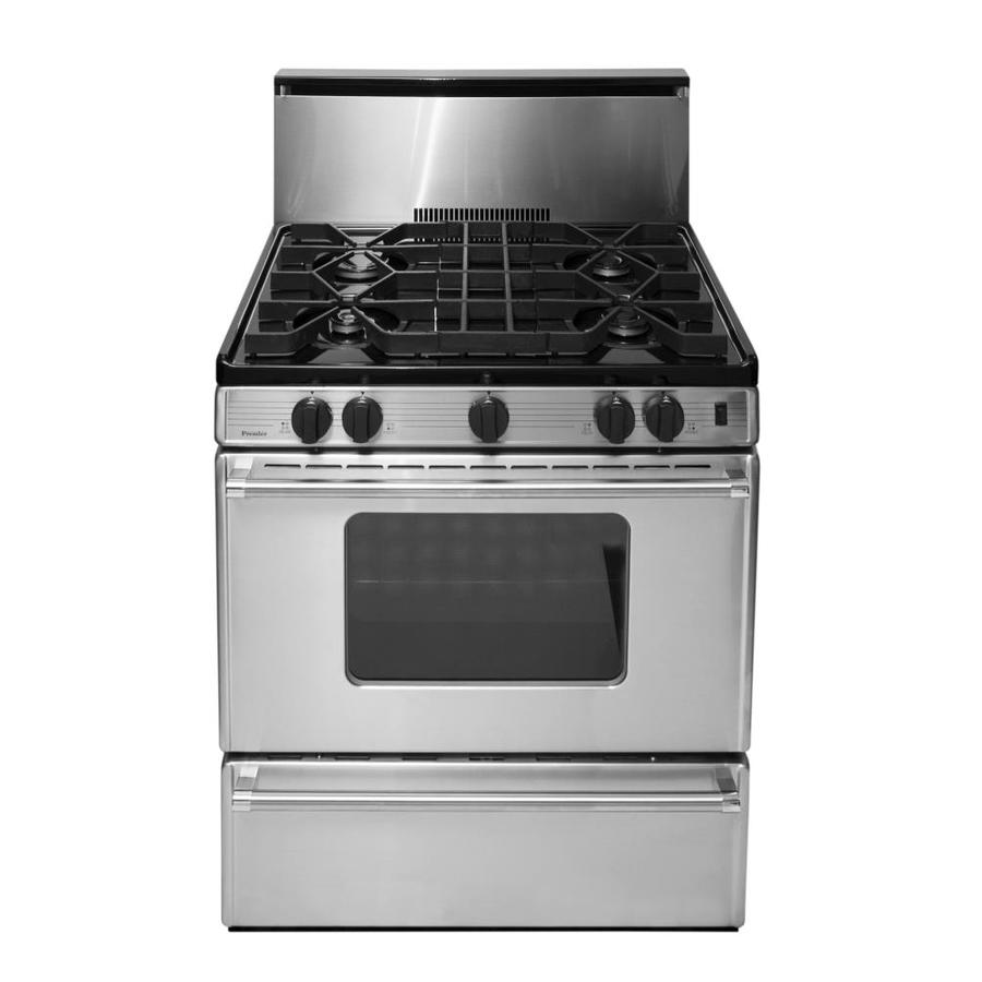 Premier 4-Burner Freestanding 3.9-cu ft Gas Range (Stainless) (Common: 30-in; Actual: 30-in)