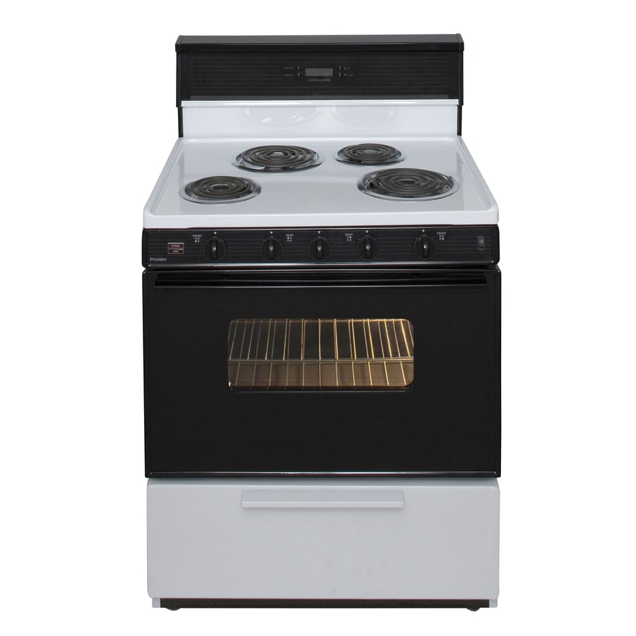 Premier Freestanding 3.9-cu ft Electric Range (White/Black) (Common: 30-in; Actual: 30-in)