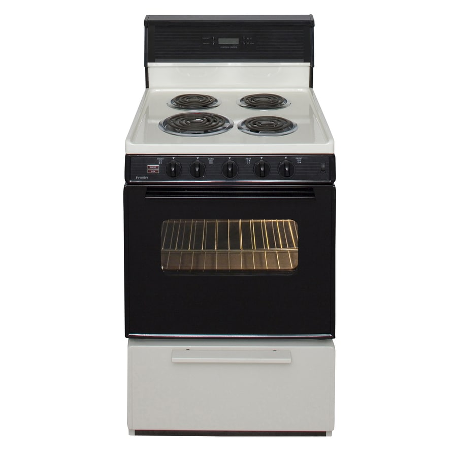 Premier Freestanding 2.9-cu ft Electric Range (Biscuit/Black) (Common: 24-in; Actual: 24-in)