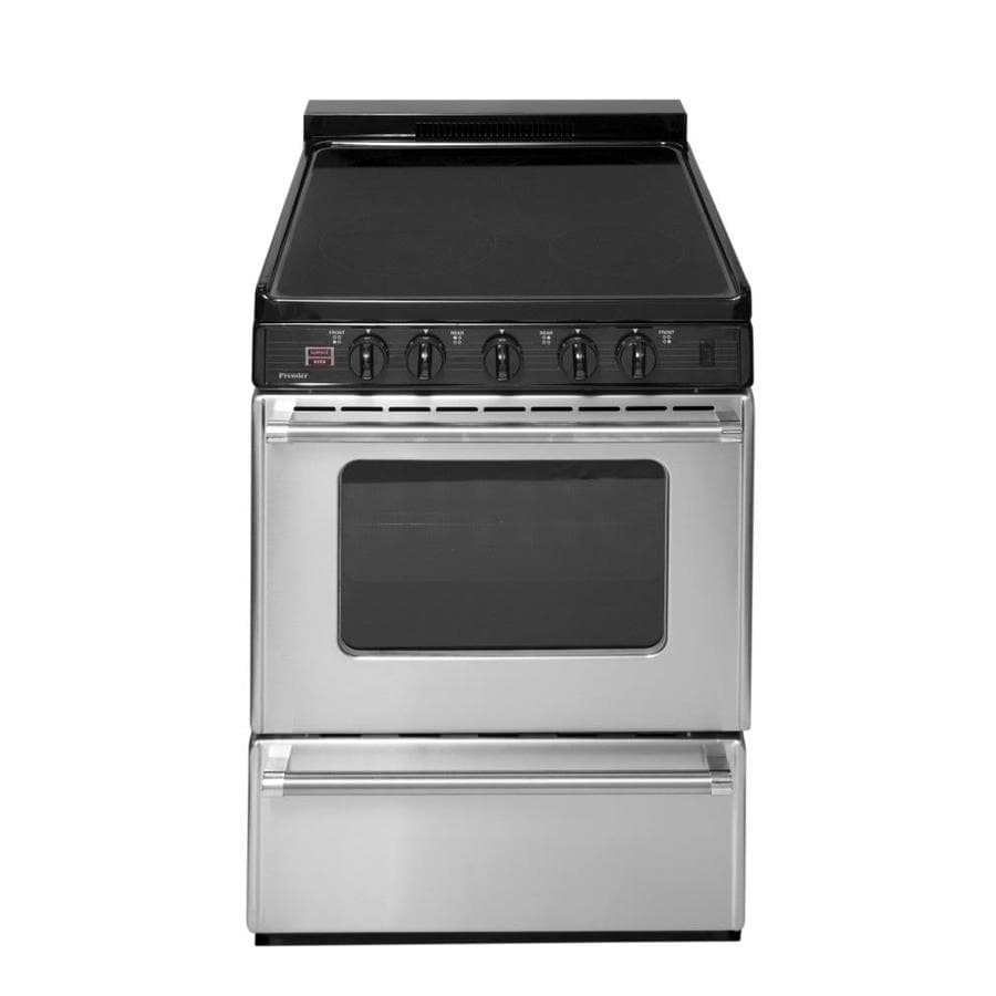 Premier Smooth Surface Freestanding 4-Element 2.9-cu ft Electric Range (Stainless with Black Trim) (Common: 24-in; Actual: 24-in)