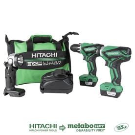 Hitachi 3-Tool 12-Volt Max Power Tool Combo Kit with Soft Case (Charger Included and 2-Batteries Included)