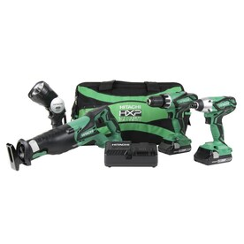 Hitachi 4-Tool 18-Volt Power Tool Combo Kit with Soft Case (Charger Included and 2-Batteries Included)