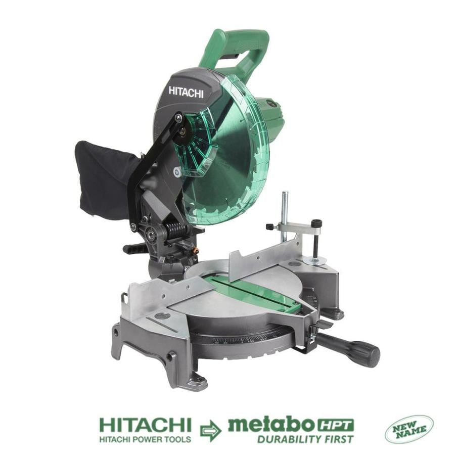 Shop miter saws at lowes hitachi 10 in 15 amp single bevel compound miter saw greentooth Image collections