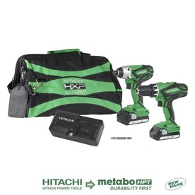 Hitachi 2-Tool 18-Volt Power Tool Combo Kit with Soft Case (Charger Included and 1-Battery Included)