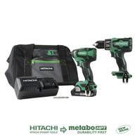 Hitachi 2-Tool 18-Volt Brushless Power Tool Combo Kit w/Case