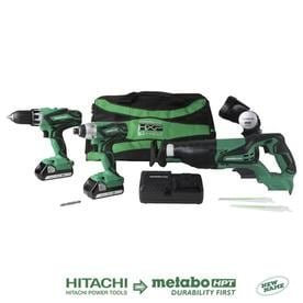 Hitachi 4-Tool 18-Volt Brushless Power Tool Combo Kit with Soft Case (Charger Included and 2-Batteries Included)