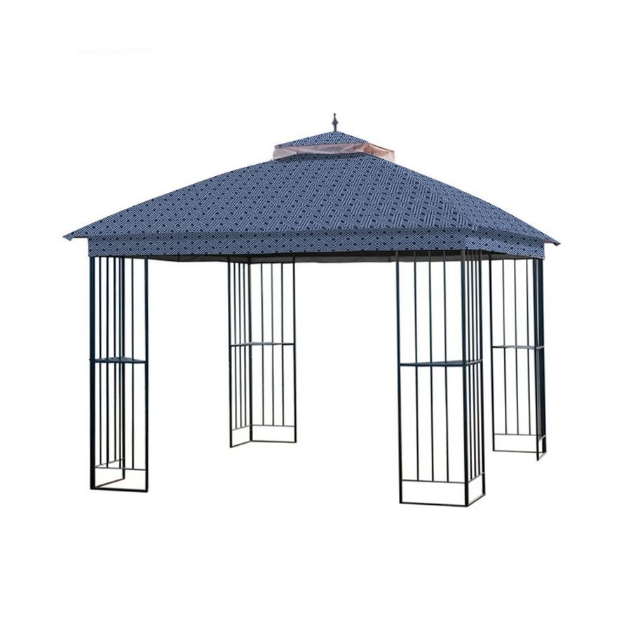 Garden Winds Replacement Canopy For Garden Treasures Steel Gazebo Standard 350 Midnight Trellis In The Canopy Parts Accessories Department At Lowes Com