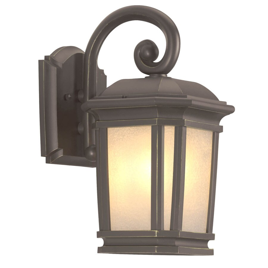 Shop portfolio corrigan h dark brass outdoor wall for Outdoor yard light fixtures