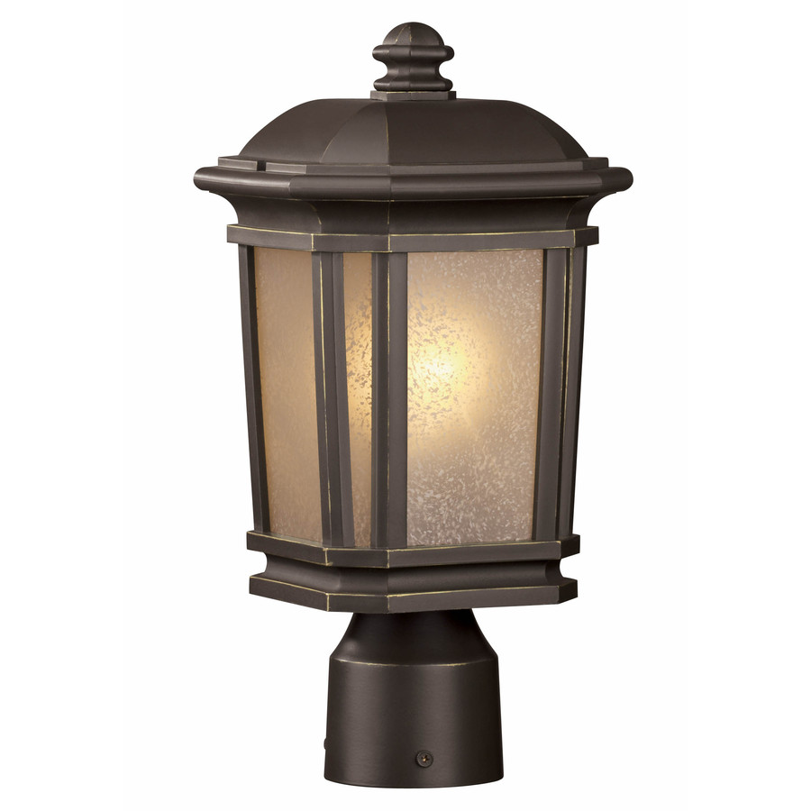 Portfolio Corrigan 14.12-in H Dark Brass Post Light  sc 1 st  Loweu0027s & Shop Portfolio Corrigan 14.12-in H Dark Brass Post Light at Lowes.com