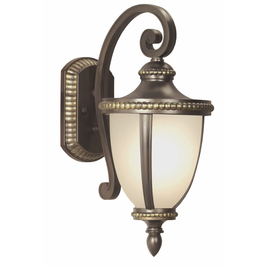 Exterior Wall Lights Lowes : Shop Portfolio Cabaray 17.62-in H Dark Brass Outdoor Wall Light at Lowes.com
