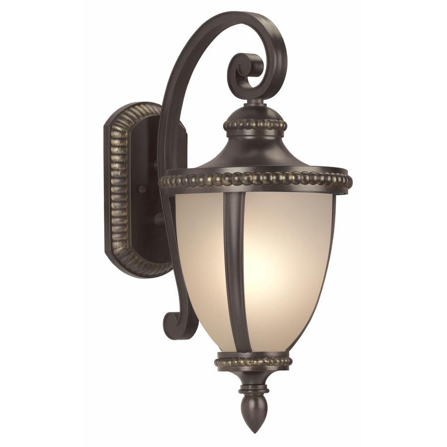 Wall Lantern Portfolio Outdoor : Shop Portfolio Cabaray 20.87-in H Dark Brass Outdoor Wall Light at Lowes.com