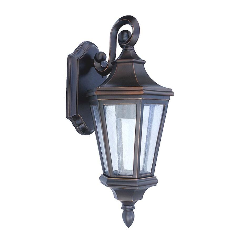 shop portfolio calvin crest h oil rubbed bronze outdoor wall light at. Black Bedroom Furniture Sets. Home Design Ideas