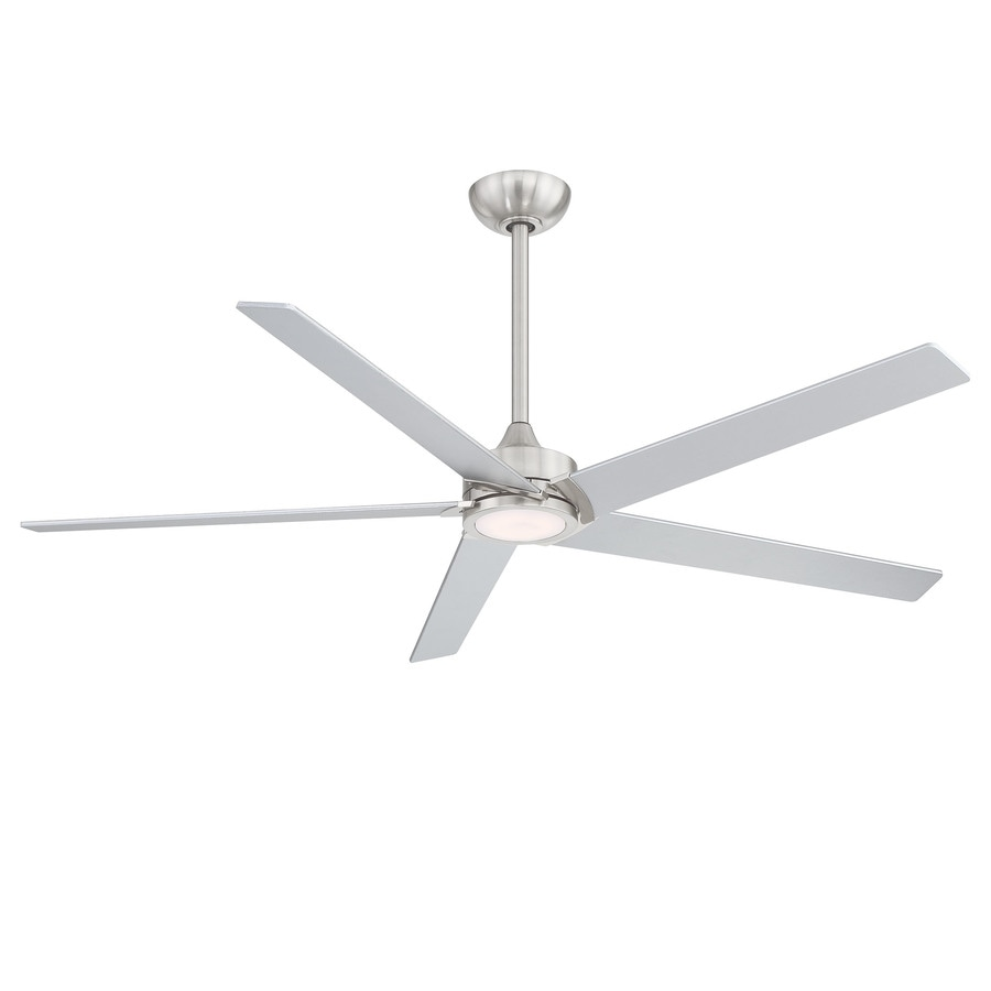 Minka Ceiling Fan Co Havenworth 60 In Brushed Nickel Led Indoor Ceiling Fan With Light Kit And Remote 5 Blade In The Ceiling Fans Department At Lowes Com