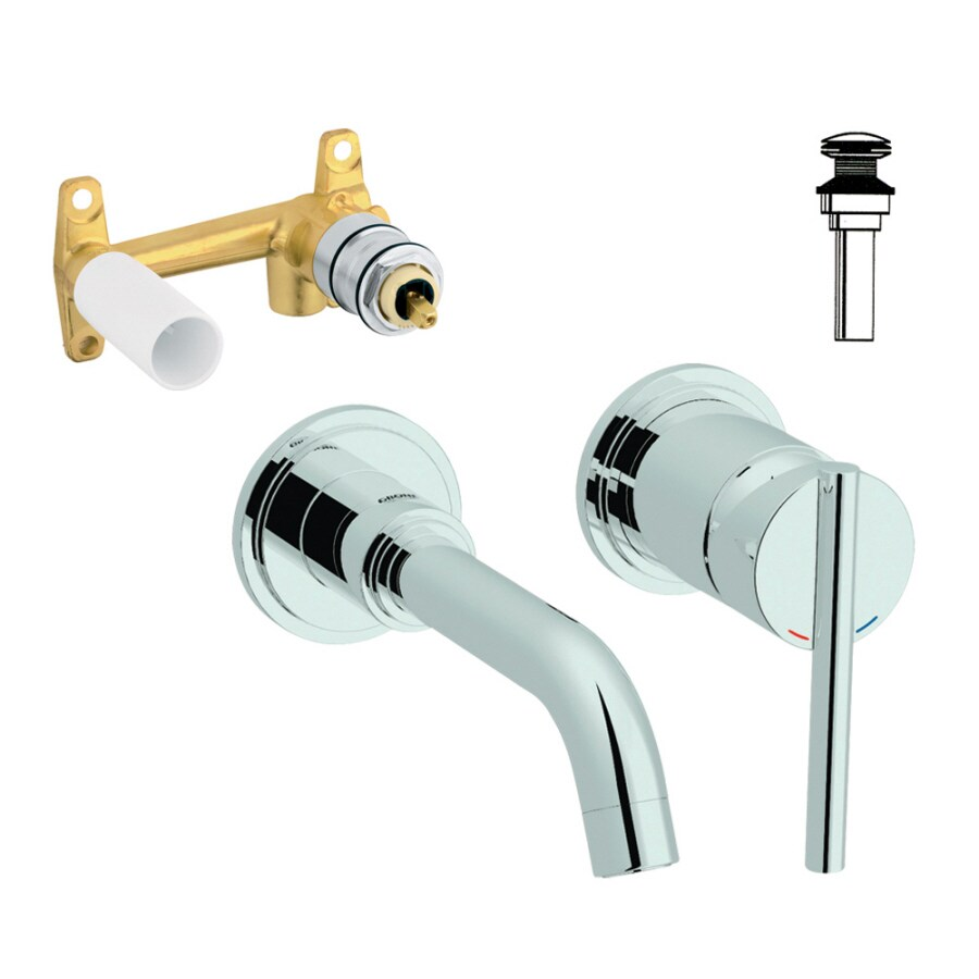 GROHE Atrio Starlight Chrome 1-Handle 4-in Centerset WaterSense Bathroom Faucet (Drain Included)