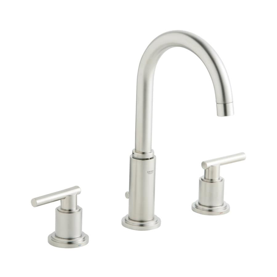 GROHE Atrio Brushed Nickel 2 Handle Widespread WaterSense Bathroom Faucet  (Drain Included)