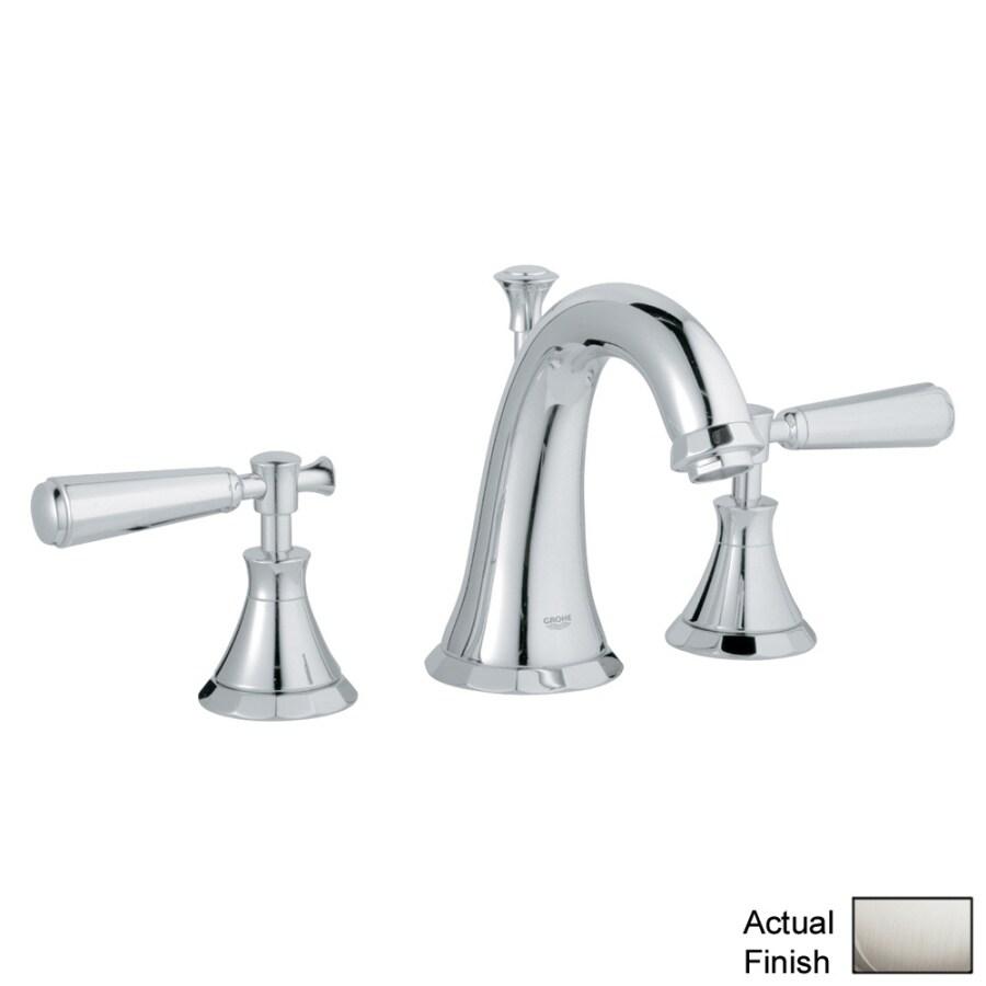 GROHE Kensington Brushed Nickel 2-Handle Widespread WaterSense Bathroom Faucet (Drain Included)