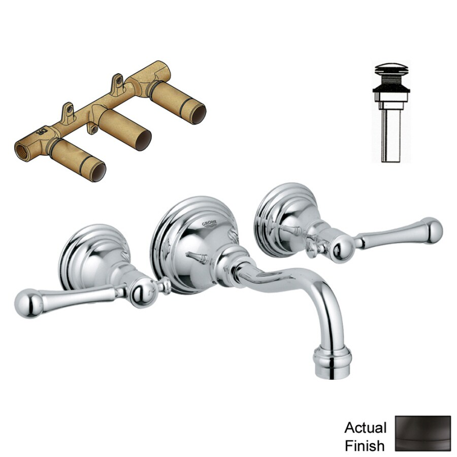 GROHE Bridgeford Oil-Rubbed Bronze 2-Handle Widespread Bathroom Faucet (Drain Included)