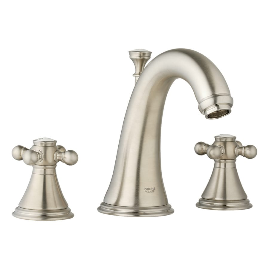 Grohe Geneva Brushed Nickel 2 Handle Widespread Watersense Bathroom Faucet Drain Included