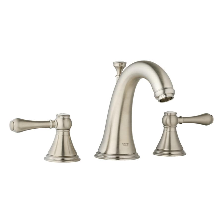 GROHE Geneva Brushed Nickel 2-Handle Widespread WaterSense Bathroom Faucet (Drain Included)