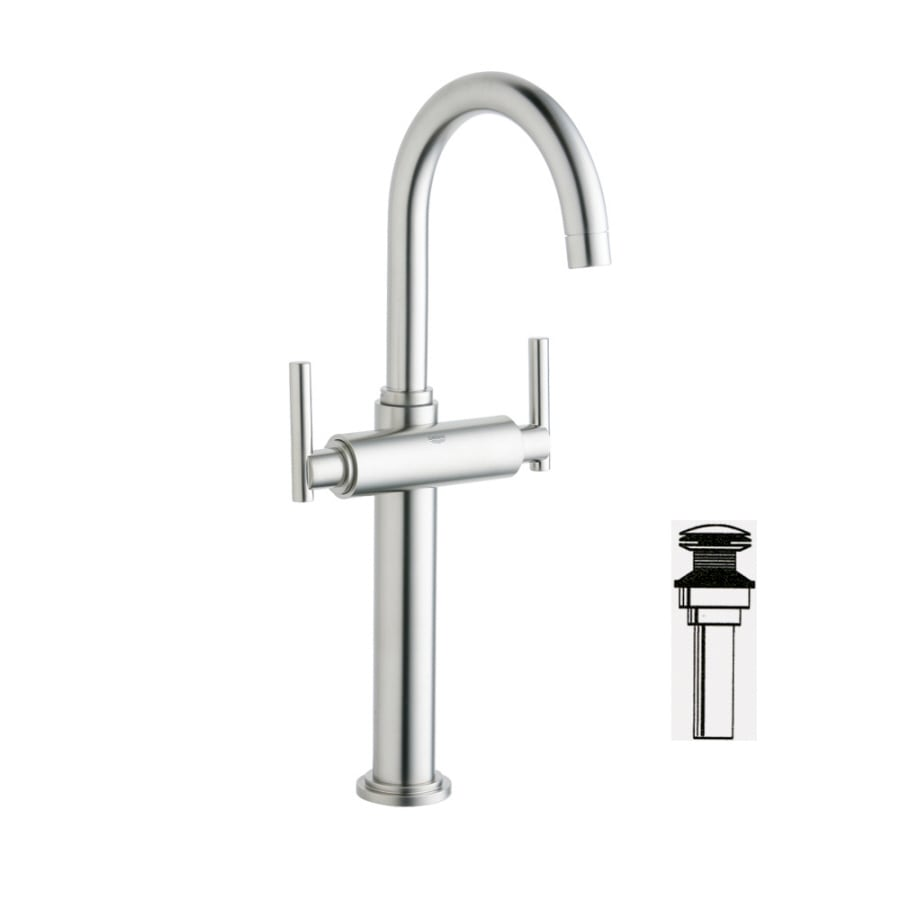 GROHE Atrio Brushed Nickel 2-Handle Single Hole WaterSense Bathroom Faucet (Drain Included)