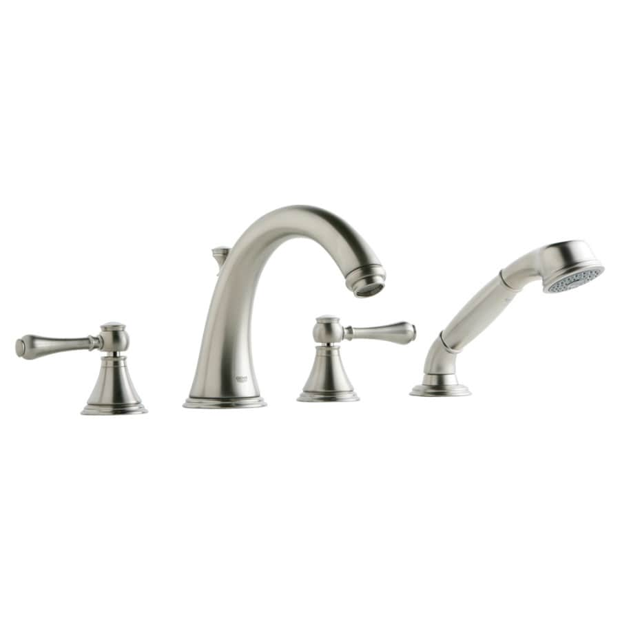GROHE Geneva Brushed Nickel 2-Handle Adjustable Deck Mount Tub Faucet