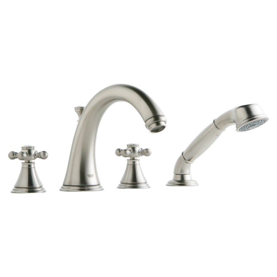 GROHE Geneva Brushed Nickel 2-Handle Adjustable Deck Mount Bathtub Faucet
