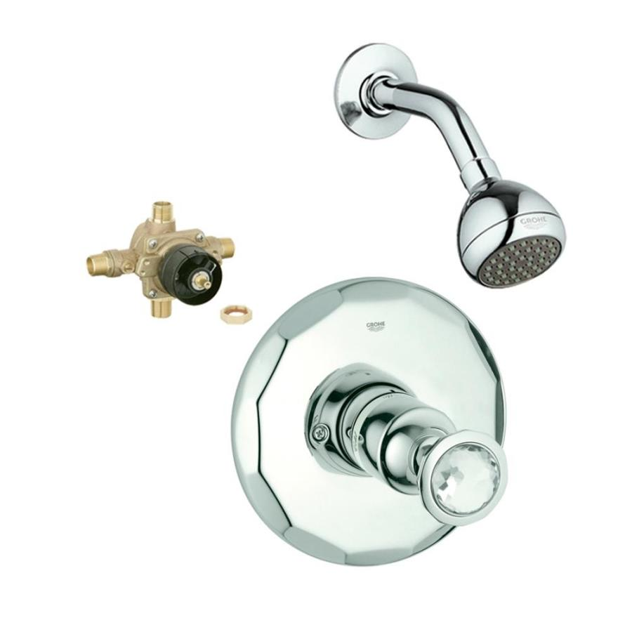 GROHE Kensington Starlight Chrome/Swarovski Crystal 1-Handle Shower Faucet with Single Function Showerhead