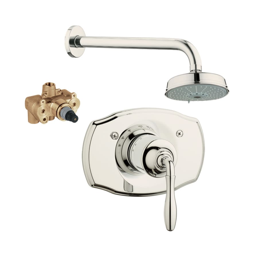 GROHE Seabury Polished Nickel 1-Handle Shower Faucet with Multi-Function Showerhead