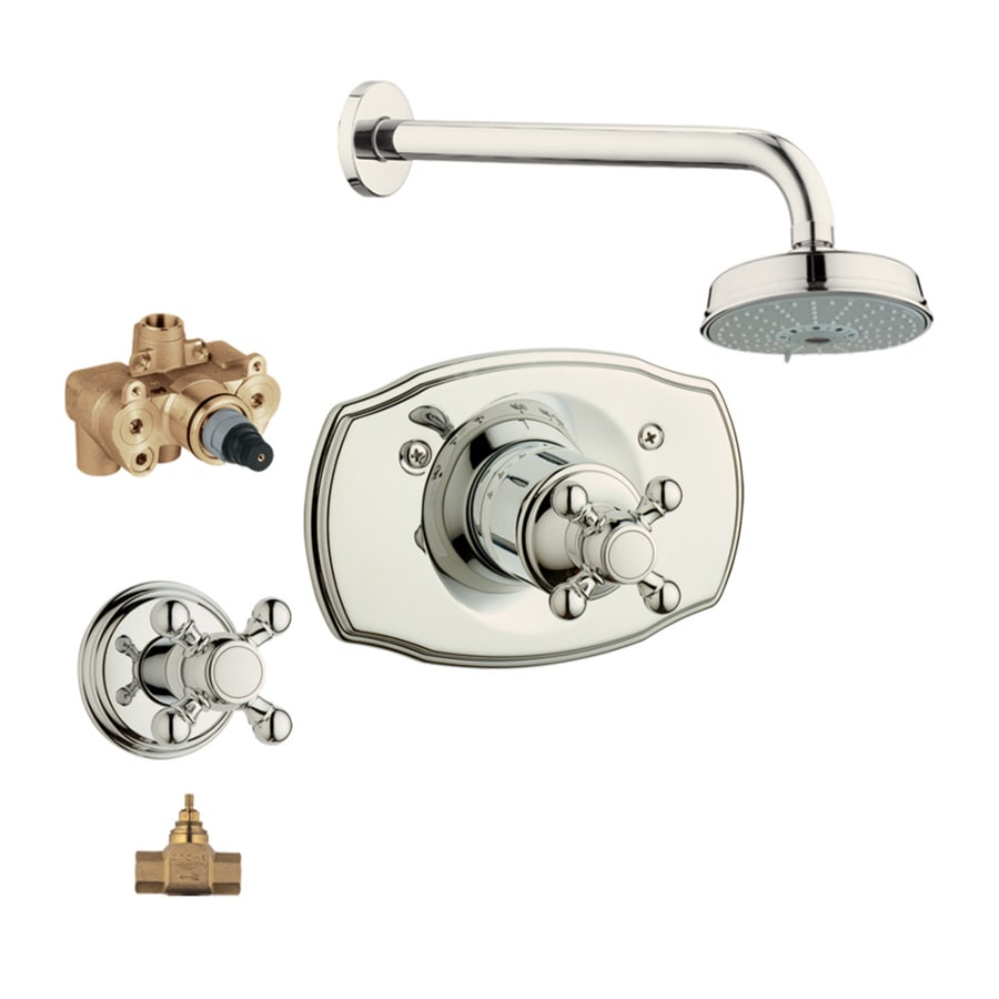 GROHE Geneva Polished Nickel 1-Handle Shower Faucet with Multi-Function Showerhead