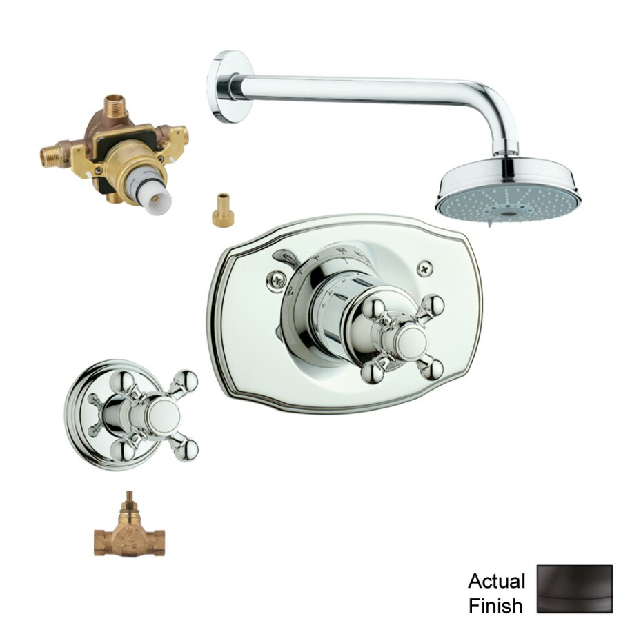 shop grohe geneva oil rubbed bronze 2 handle shower faucet with valve at. Black Bedroom Furniture Sets. Home Design Ideas