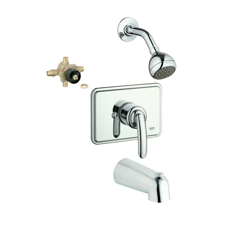GROHE Talia Chrome 1-Handle Bathtub and Shower Faucet with Single Function Showerhead