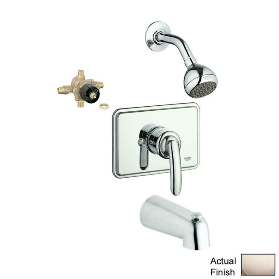 GROHE Talia Nickel 1-Handle Bathtub and Shower Faucet with Single Function Showerhead