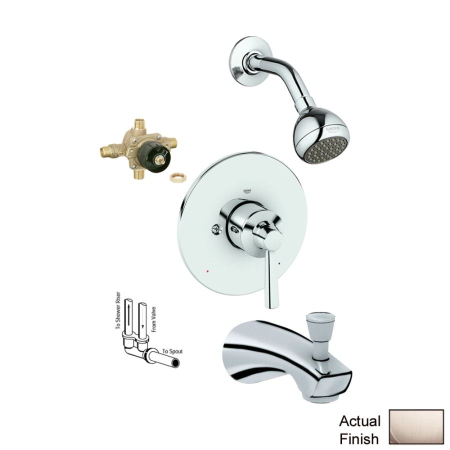 GROHE Arden Brushed Nickel 1-Handle Bathtub and Shower Faucet with Single Function Showerhead