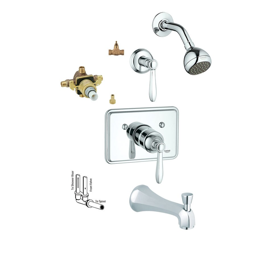 GROHE Somerset Starlight Chrome 1-Handle Bathtub and Shower Faucet with Single Function Showerhead