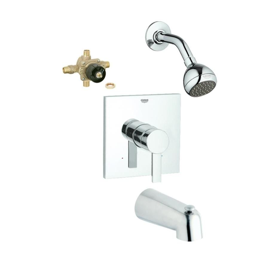 GROHE Allure Starlight Chrome 1-Handle Bathtub and Shower Faucet with Single Function Showerhead